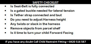 Oakleigh car seat fitting safety-check list